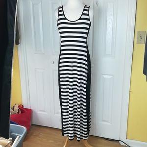 Calvin Klein black and white striped maxi dress